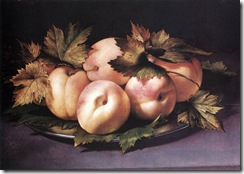 Giovanni Ambrogio Figino - Metal Plate with Peaches and Vine Leaves