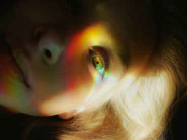 woman s face with light reflections